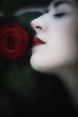 J.A Rausch BEAUTIFUL WOMAN SMELLING ROSE Women