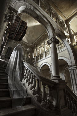 Franck Losay GHOST ON STAIRS OF GRAND BUILDING Interiors/Rooms