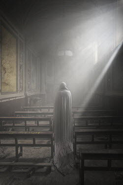 Franck Losay GHOSTLY FIGURE IN SUNLIT CHAPEL Religious Buildings