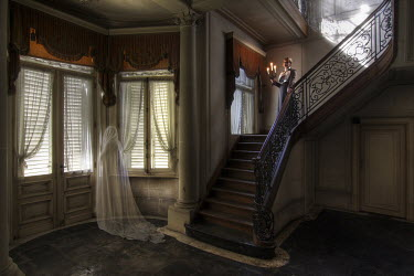 Franck Losay WOMAN AND GHOST IN GRAND OLD HOUSE Women