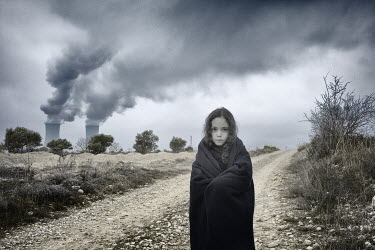 Fernando Arias Ramos GIRL ON PATH BY SMOKING CHIMNEYS Children