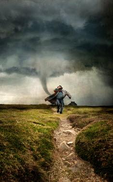 Jaroslaw Blaminsky MAN RUNNING AWAY FROM TORNADO Men
