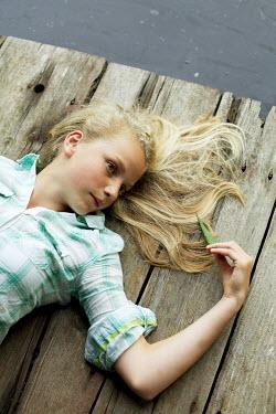James Walker BLOND GIRL ON JETTY OVER WATER Children
