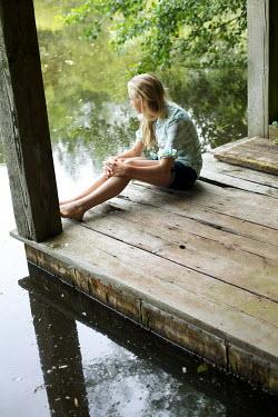 James Walker BLOND GIRL ON JETTY BY WATER Women