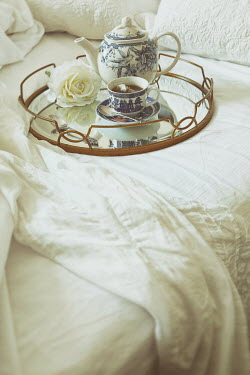 Sandra Cunningham TEAPOT AND CUP ON TRAY ON BED Miscellaneous Objects