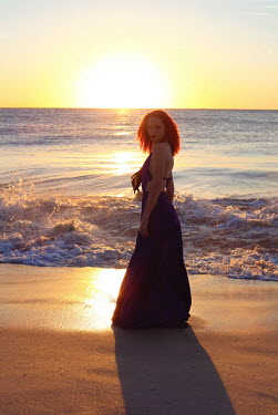 Jessica Truscott WOMAN ON BEACH AT SUNSET Women
