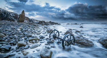 Graham Hunt OLD WHEELS ON ROCKY SHORE Seascapes/Beaches