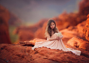 Lisa Holloway LITTLE GIRL ON RED DESERT ROCK Children
