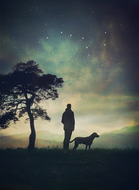 Mark Owen SILHOUETTE OF MAN AND DOG AT NIGHT Men
