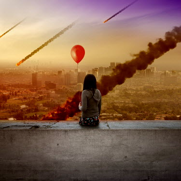 Zoltan Toth GIRL WITH BALLOON BY CITY UNDER ATTACK Women