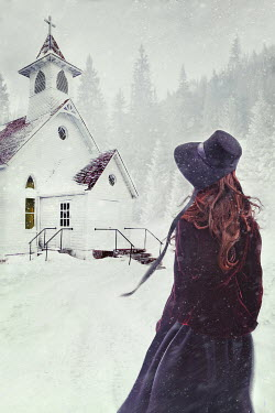 Sandra Cunningham HISTORICAL WOMAN BY CHURCH IN SNOW Women