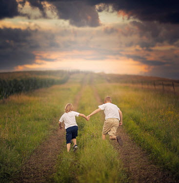 Jake Olson TWO BOYS RUNNING IN FIELD Groups/Crowds