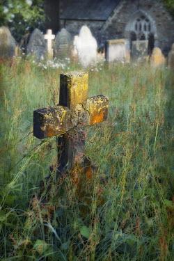 Philip Askew OLD STONE CROSS IN GRAVEYARD Statuary/Gravestones