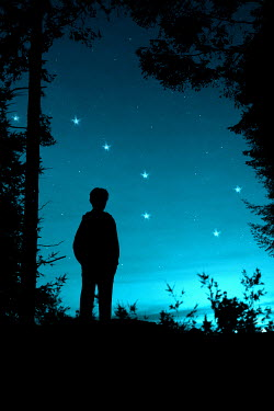 Clayton Bastiani SILHOUETTE OF BOY IN FOREST AT NIGHT Men
