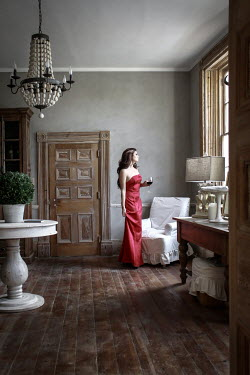 Stephen Carroll WOMAN IN DRESS IN GRAND ROOM Women