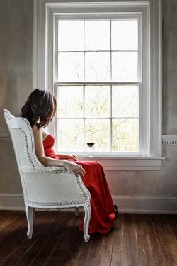 Stephen Carroll WOMAN IN CHAIR BY WINDOW WITH WINE Women