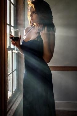Stephen Carroll BRUNETTE WOMAN WITH WINE BY SUNLIT WINDOW Women