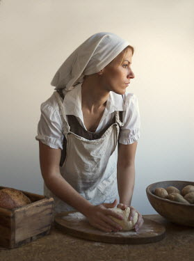 Debra Lill WOMAN KNEADING BREAD Women