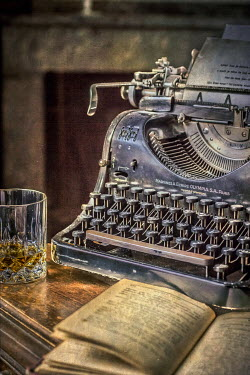 Elly De Vries OLD TYPEWRITER, WHISKEY GLASS AND BOOK Miscellaneous Objects