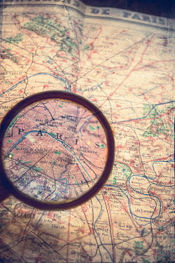 Elly De Vries MAGNIFYING GLASS OVER MAP OF PARIS Miscellaneous Objects