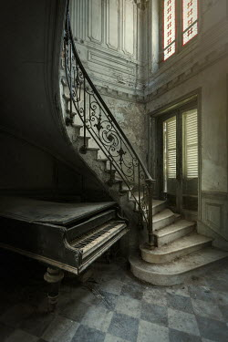 Eva Van Oosten PIANO AND STAIRS IN GRAND OLD HOUSE Stairs/Steps