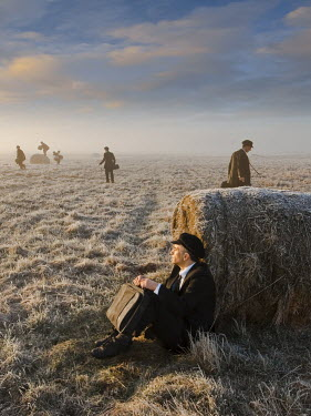 Leszek Paradowski MEN WITH SUITCASES IN FIELD Groups/Crowds
