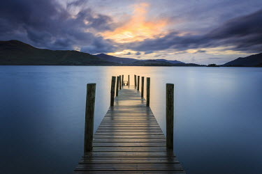Mark Bauer JETTY OVER LAKE AT SUNET Seascapes/Beaches