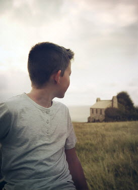 Mark Owen BOY IN FIELD WITH HOUSE Children