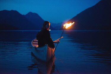 Peter Jamus Holme WOMAN IN CANOE WITH TORCH Women
