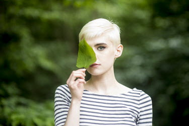 Peter Jamus Holme WOMAN WITH LEAF OVER EYE Women