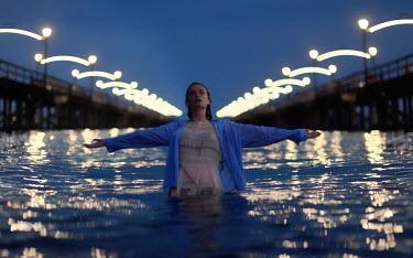 Peter Jamus Holme WOMAN IN WATER BETWEEN PIERS Women