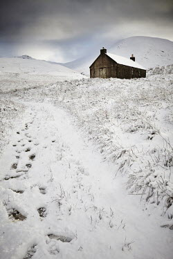 Andy & Michelle Kerry FOOTSTEPS IN SNOW LEADING TO CABIN Houses