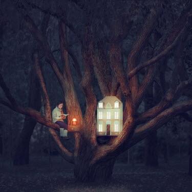 Oleg Oprisco GIRL READING BY DOLLS HOUSE IN TREE Women