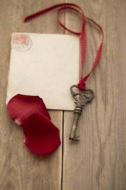 Joanna Jankowska ROSE PETALS WITH LOVE LETTER AND KEY Miscellaneous Objects