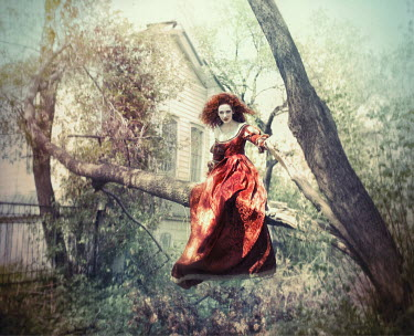 Margarita Kareva WOMAN IN VELVET DRESS IN TREE Women