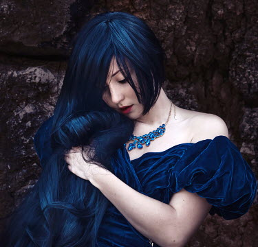 Chiara Fersini WOMAN WITH BLUE HAIR BY WALL Women
