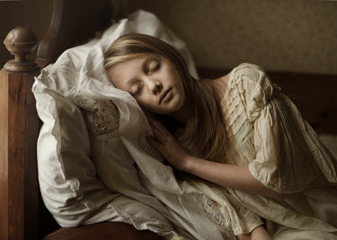 Magdalena Berny YOUNG BLOND GIRL SLEEPING ON BED Children