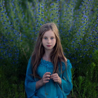 Magdalena Berny GIRL BY BUSH WITH BLUE FLOWERS Children