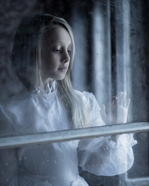 Magdalena Berny GIRL IN VINTAGE DRESS BY WINDOW Children
