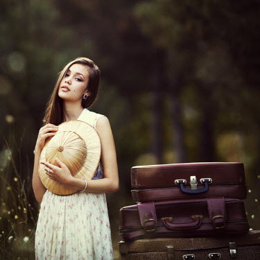 Natalia Ciobanu GIRL WITH PITH HELMET AND SUITCASES Women