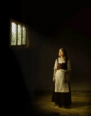 John Foley SERVANT GIRL BY LEADED WINDOW IN DARK ROOM Women