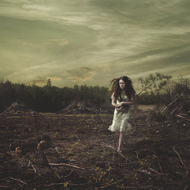 Robin Macmillan GIRL RUNNING THROUGH APOCALYPTIC LANDSCAPE Women