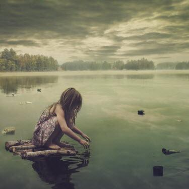 Robin Macmillan GIRL ON RAFT IN LITTERED LAKE Children