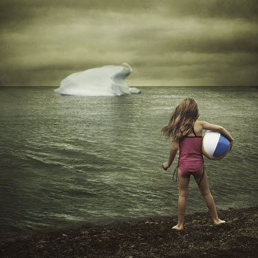 Robin Macmillan GIRL ON BEACH LOOKING AT ICEBERG Children