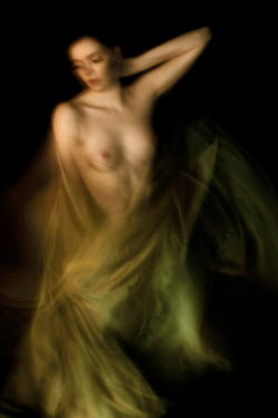 Patrick Den Drijver NAKED WOMAN WRAPPED IN GREEN SILK Women