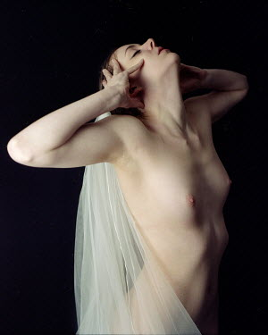 Patrick Den Drijver NAKED YOUNG WOMAN WRAPPED IN FABRIC Women