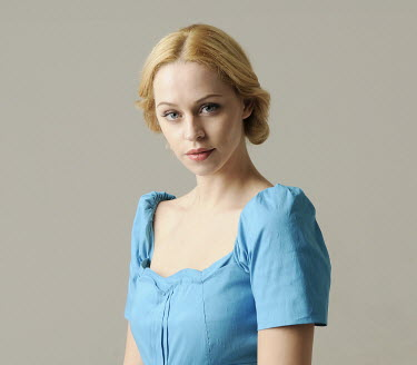 Jessica Truscott BLOND WOMAN IN BLUE DRESS Women