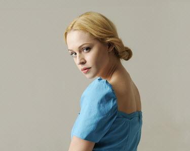 Jessica Truscott BLOND WOMAN IN BLUE DRESS Women