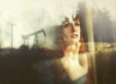 Sarah Ann Loreth WORRIED WOMAN LOOKING OUT OF WINDOW Women
