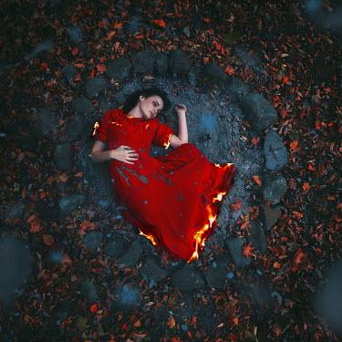 Sarah Ann Loreth BODY OF DEAD WOMAN WEARING FLAMING DRESS Women